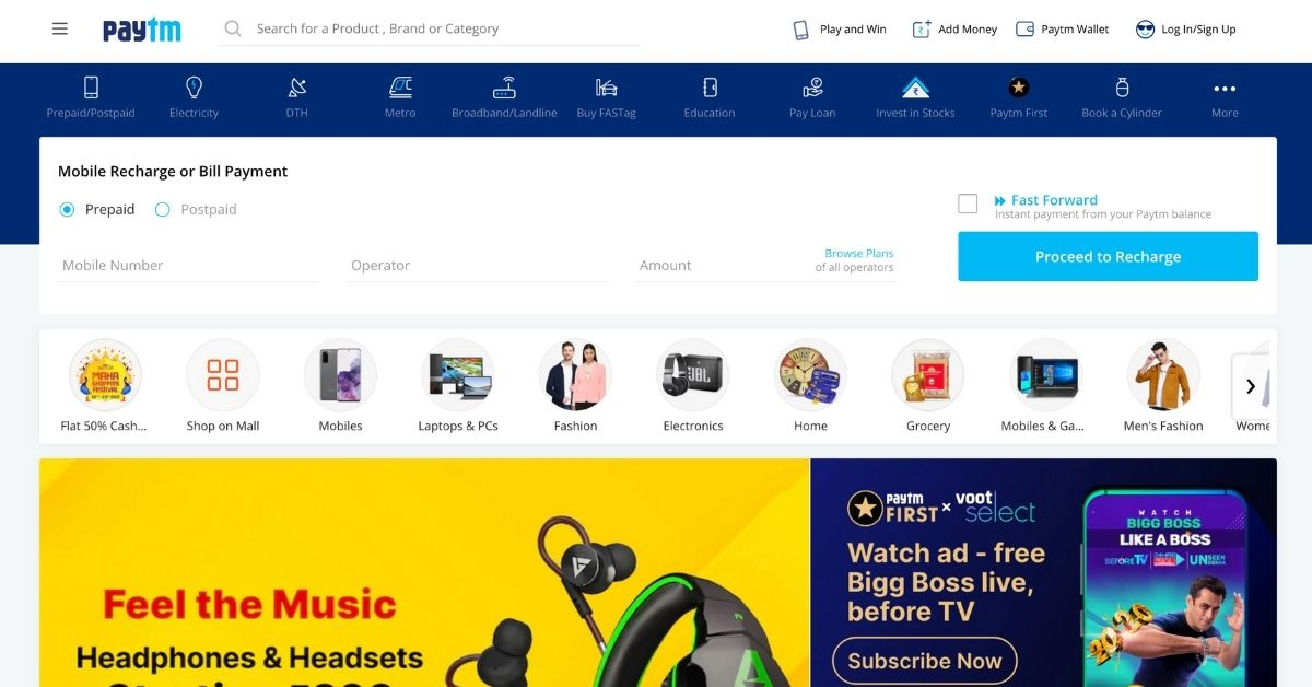 Paytm Top Online Shopping Sites in India