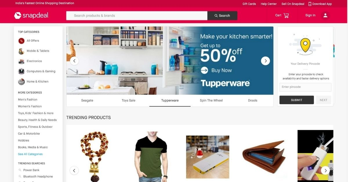 Snapdeal Top Online Shopping Sites in India