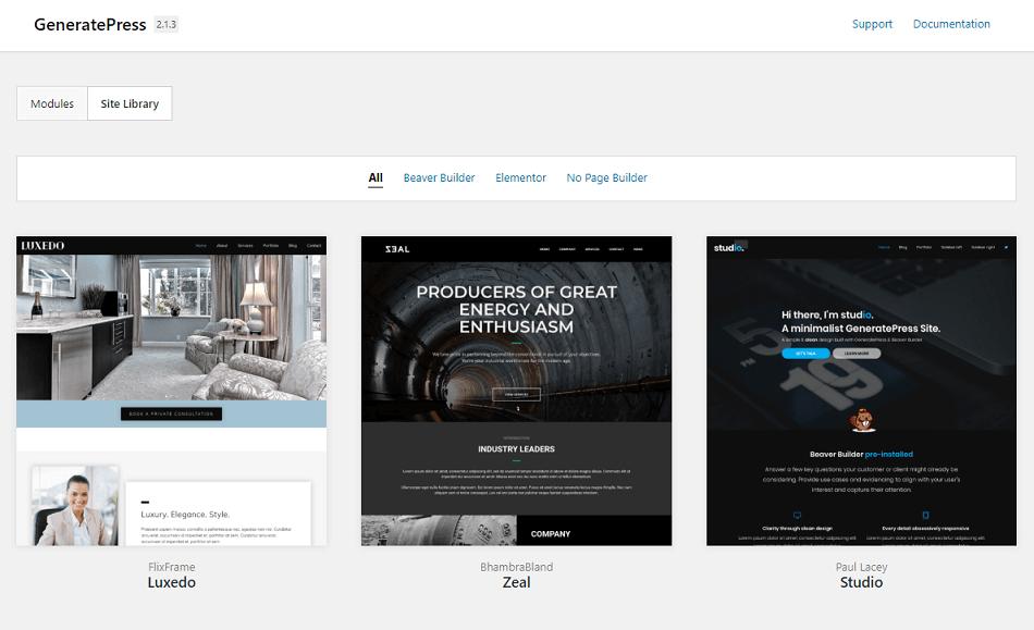 GeneratePress Premium Site Library