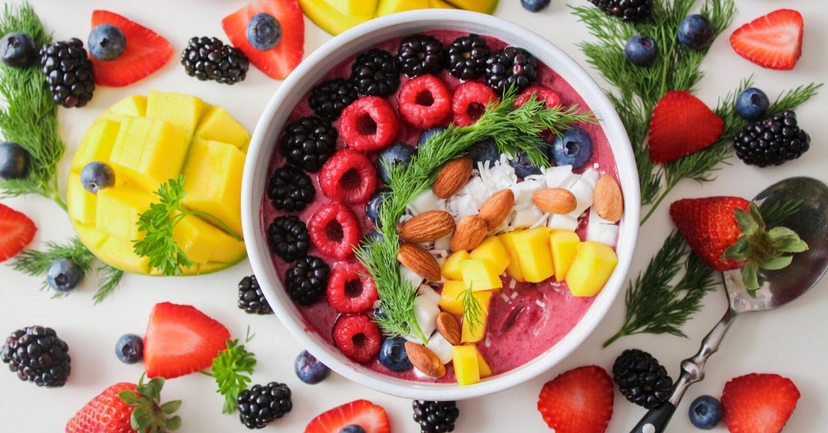 Vegan Food Containing Fresh Fruits and Nuts
