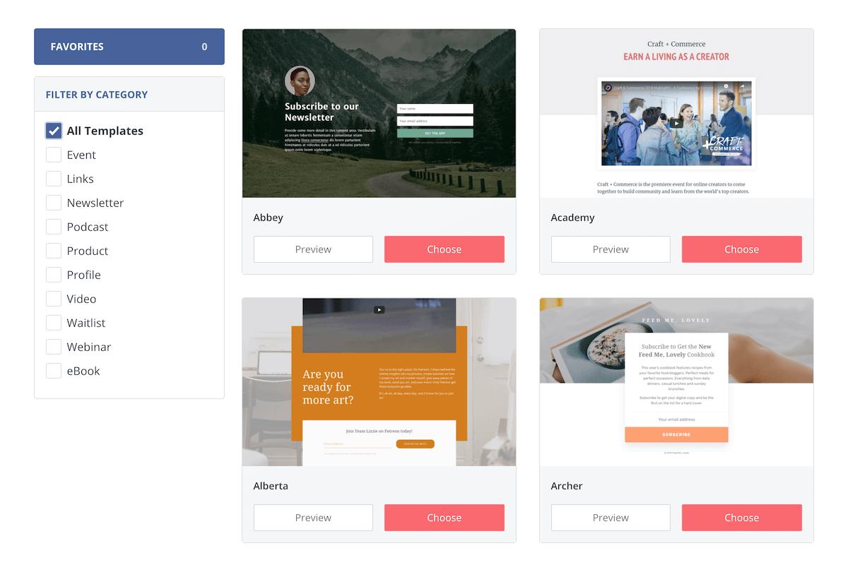 ConvertKit Landing Page Templates