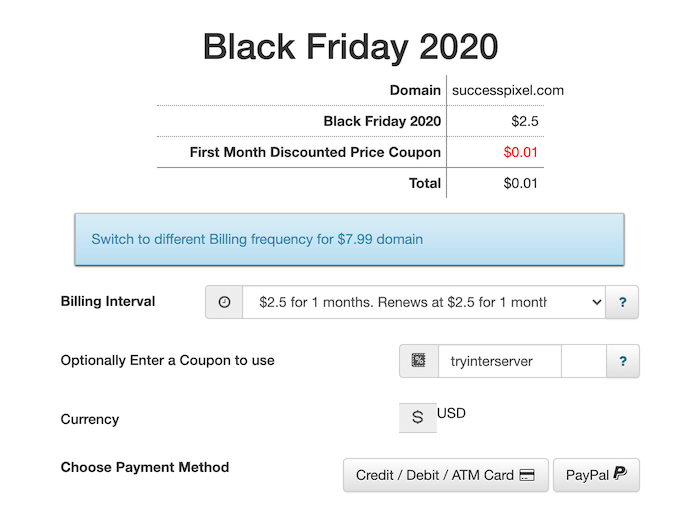 InterServer Black Friday Deal 2020-Checkout Page