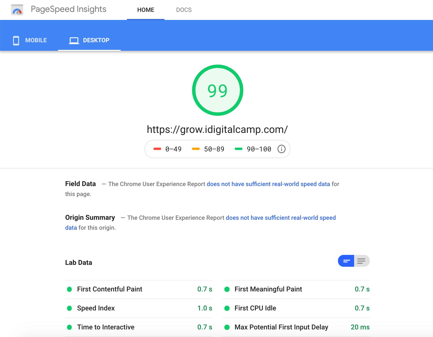 MilesWeb Google PageSpeed Score – Desktop