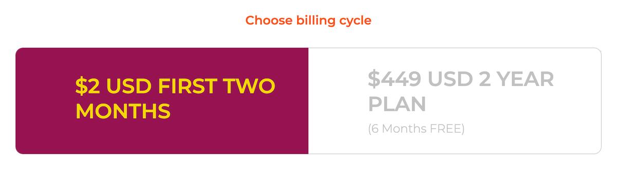 WPX Hosting Choose Billing Cycle