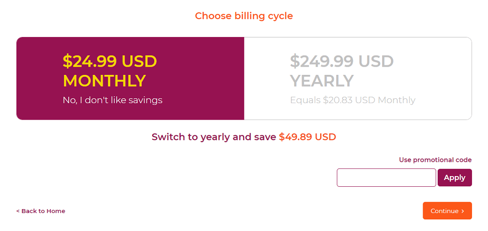 WPX.net Hosting Purchase Choose Billing Cycle
