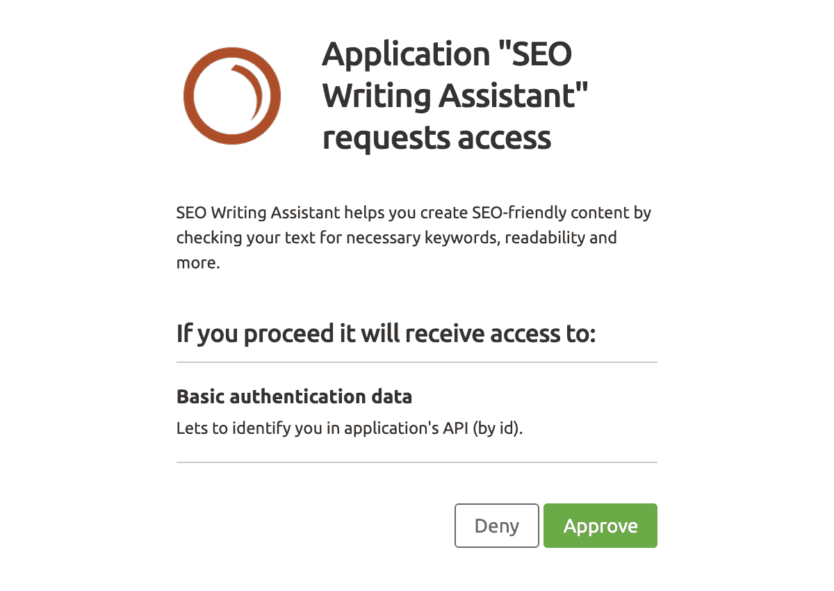 SEO Writing Assistant API Authentication