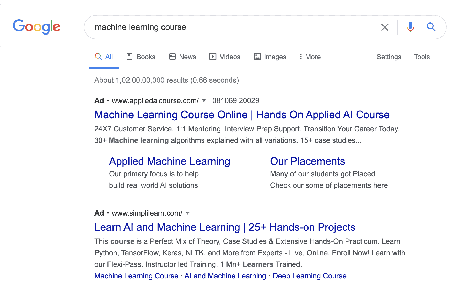 Google Search Ads for Machine Learning Courses
