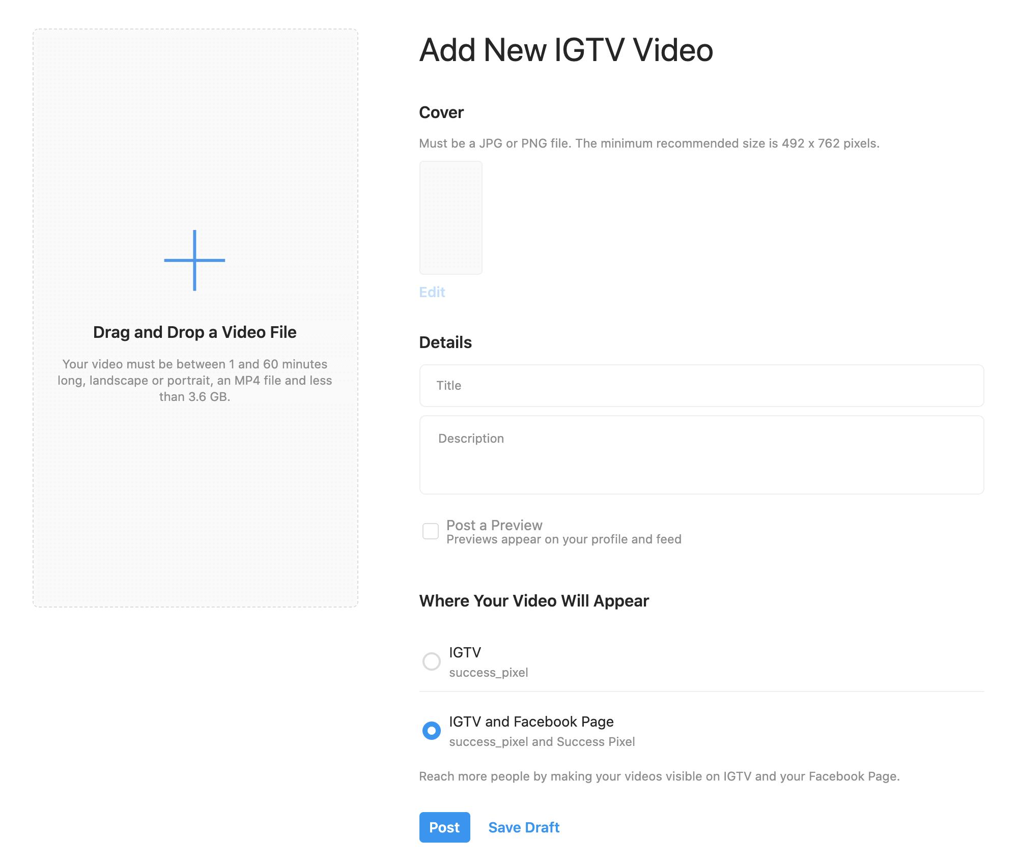 IGTV Video Upload Window Desktop Mode