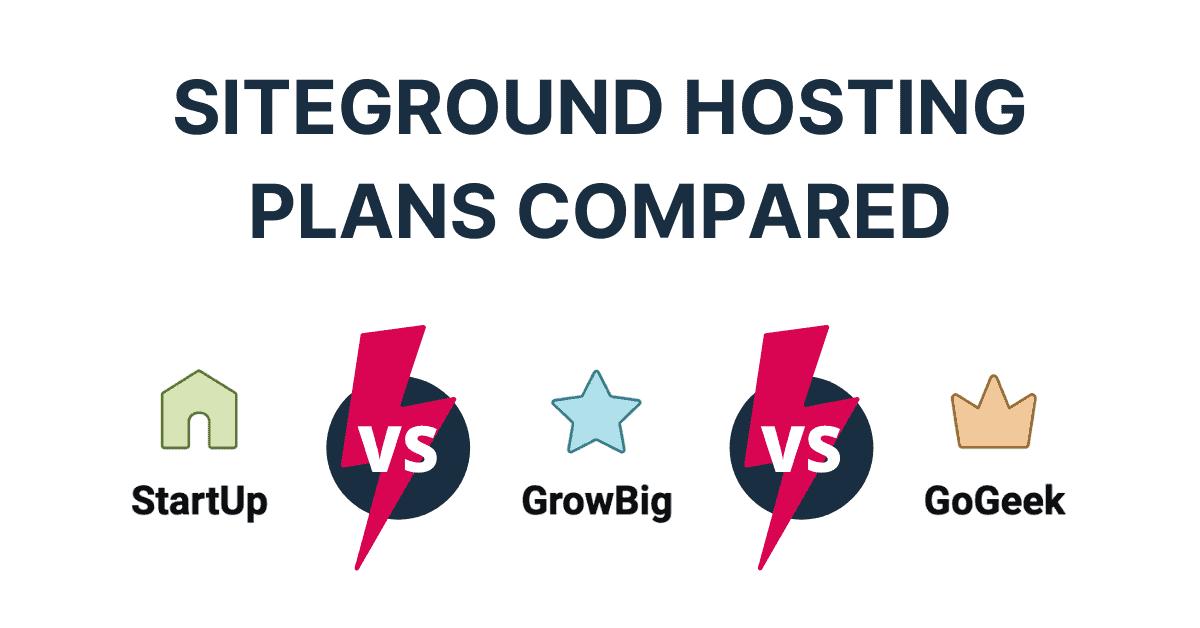 SiteGround Hosting Plans, StartUp vs GrowBig vs GoGeek