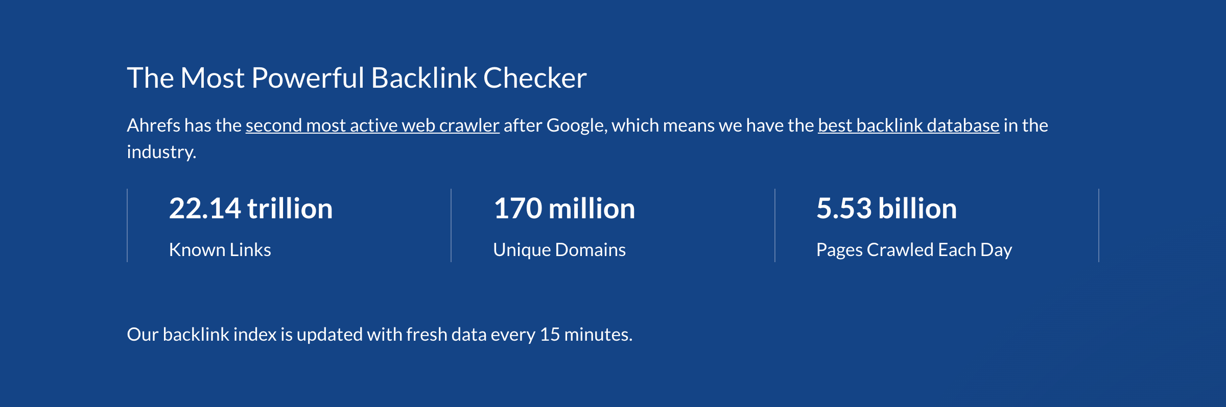 Ahrefs Backlink Checker Stats