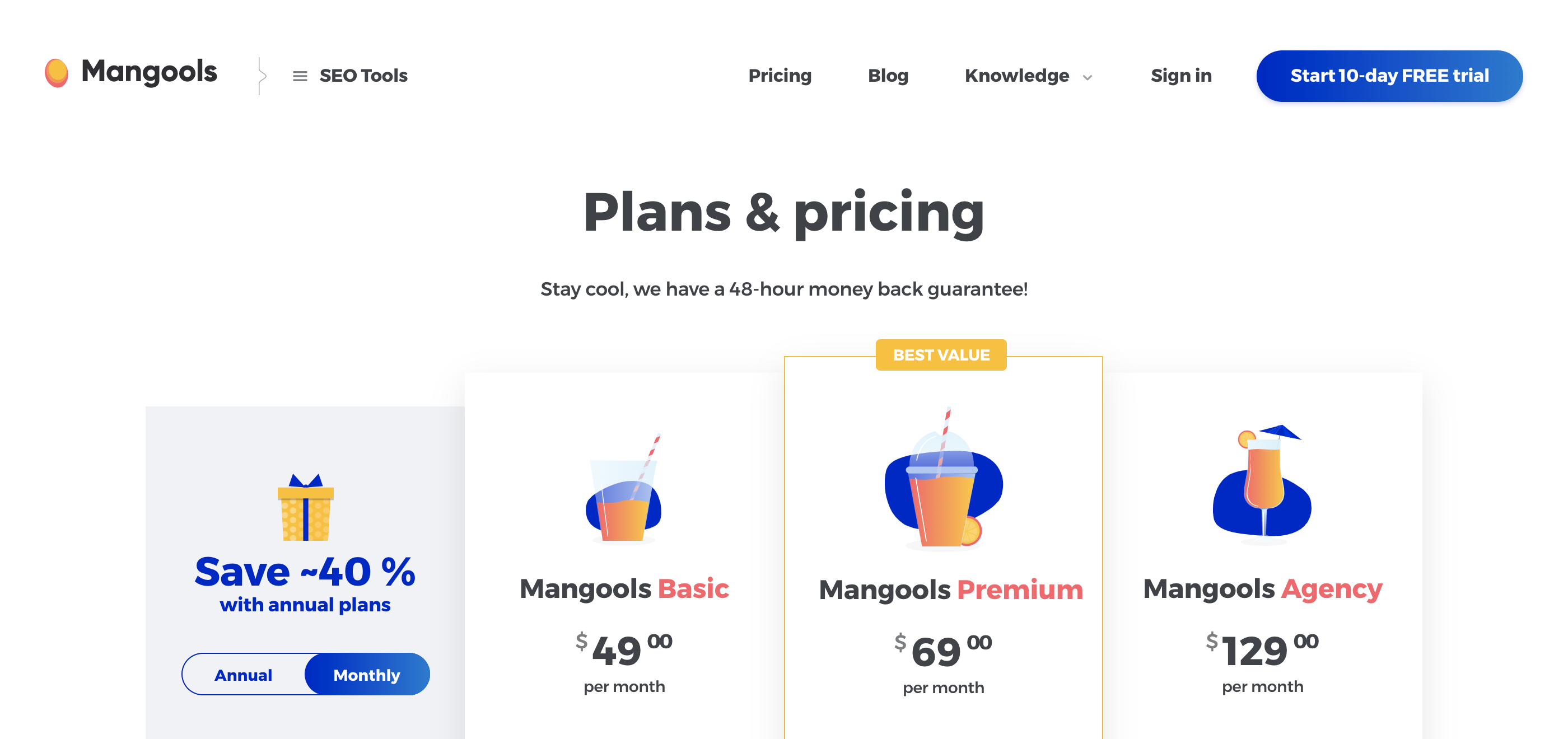 Mangools Plans and Pricing, KWFinder Pricing
