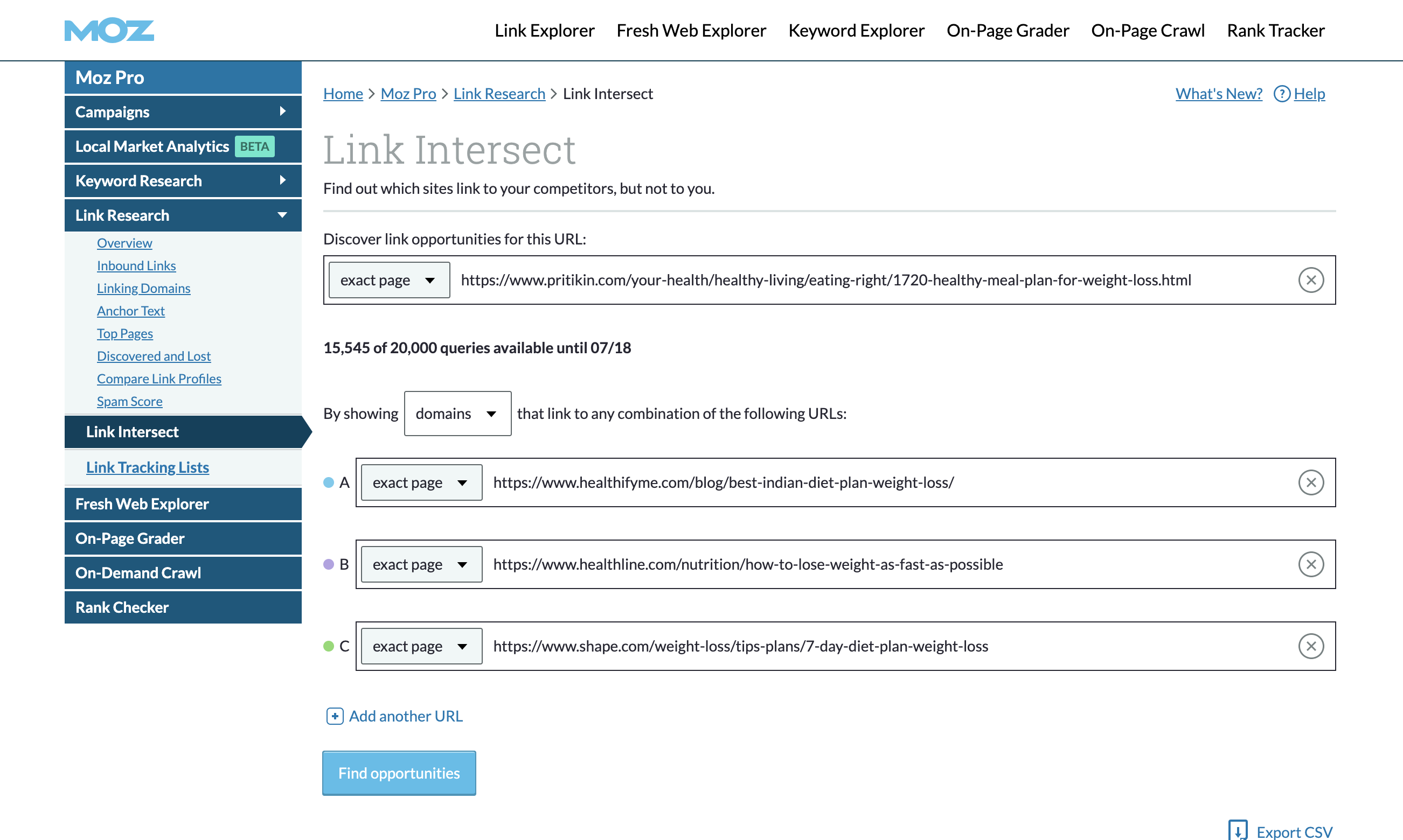 Moz Link Intersect