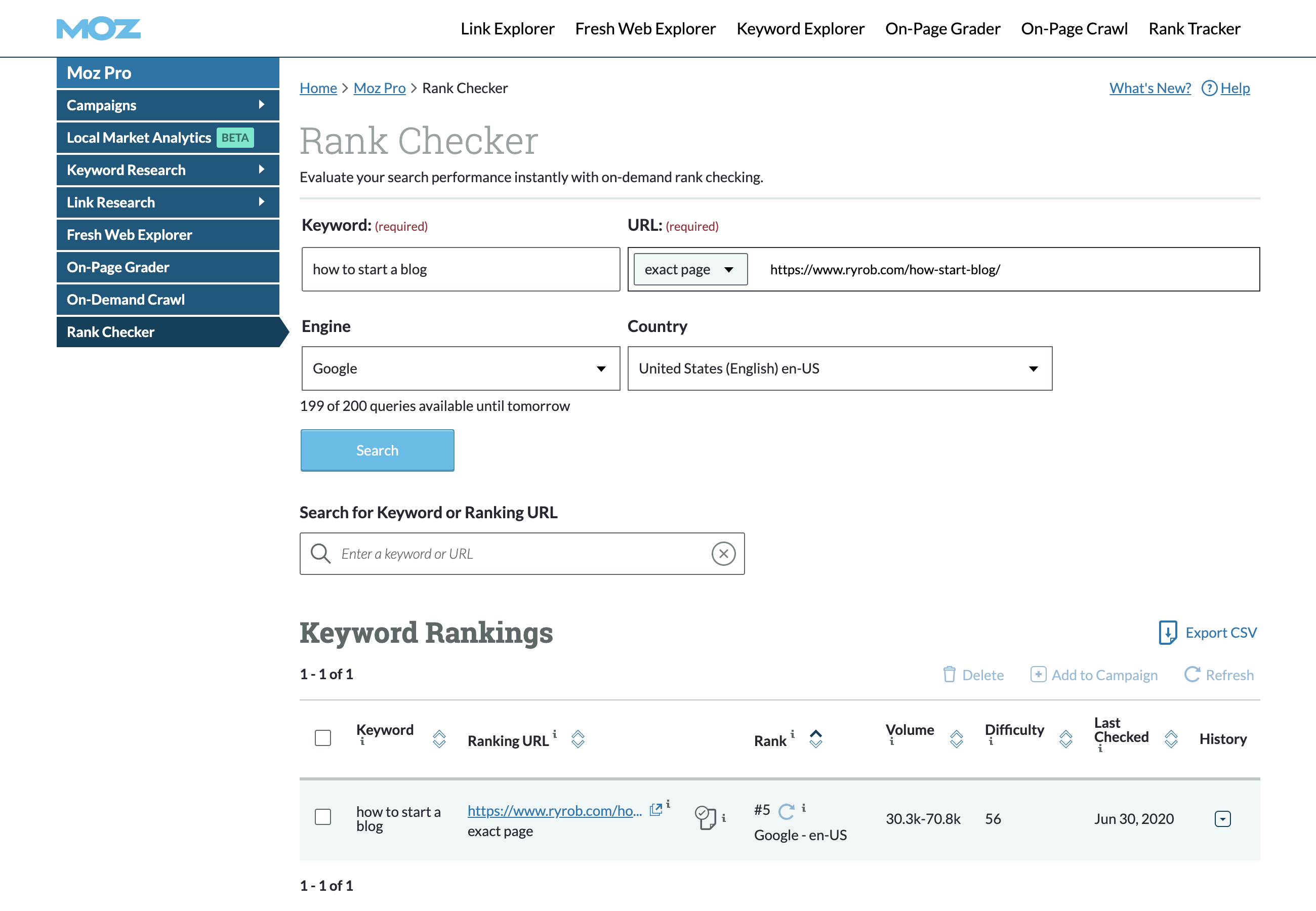 Moz Rank Checker Module