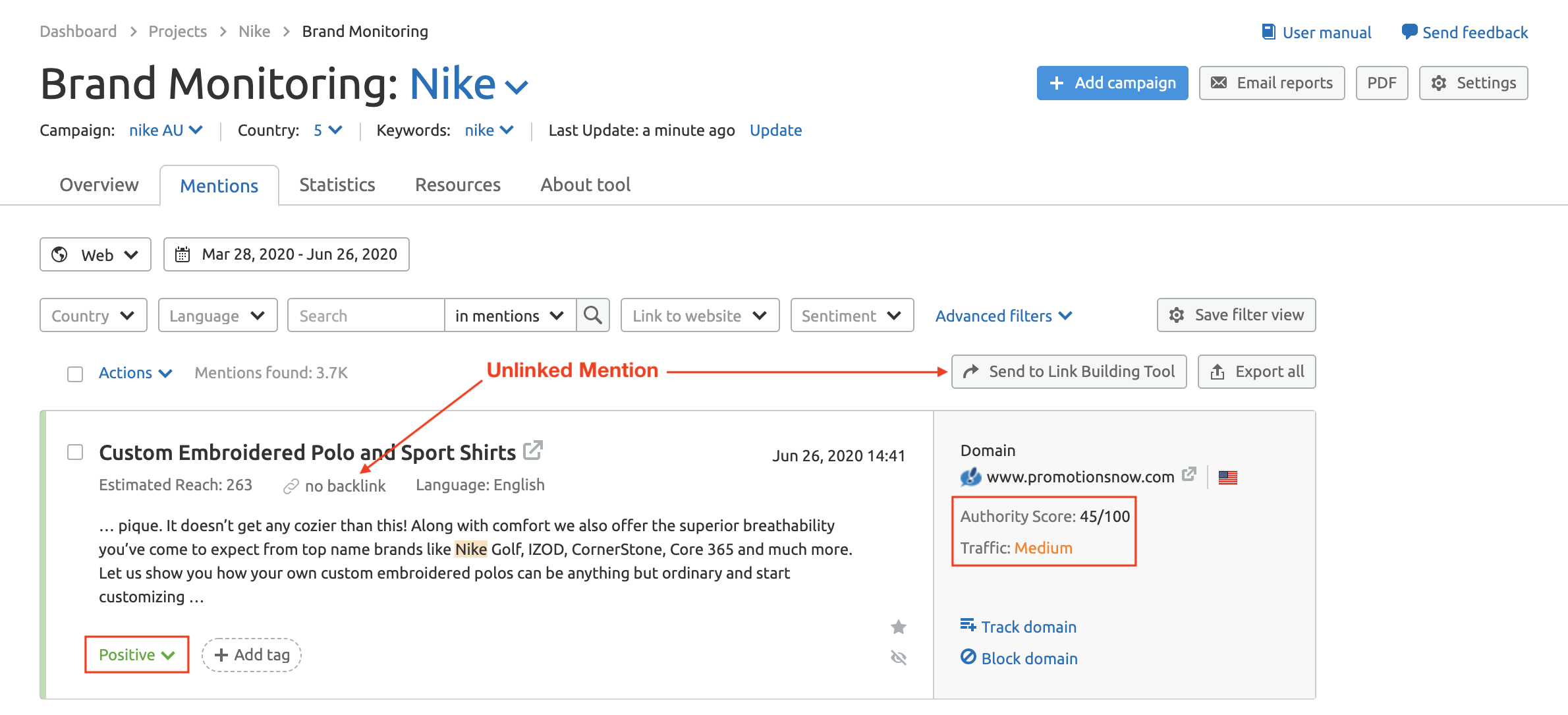 SEMrush Brand Monitoring Unlinked Mentions