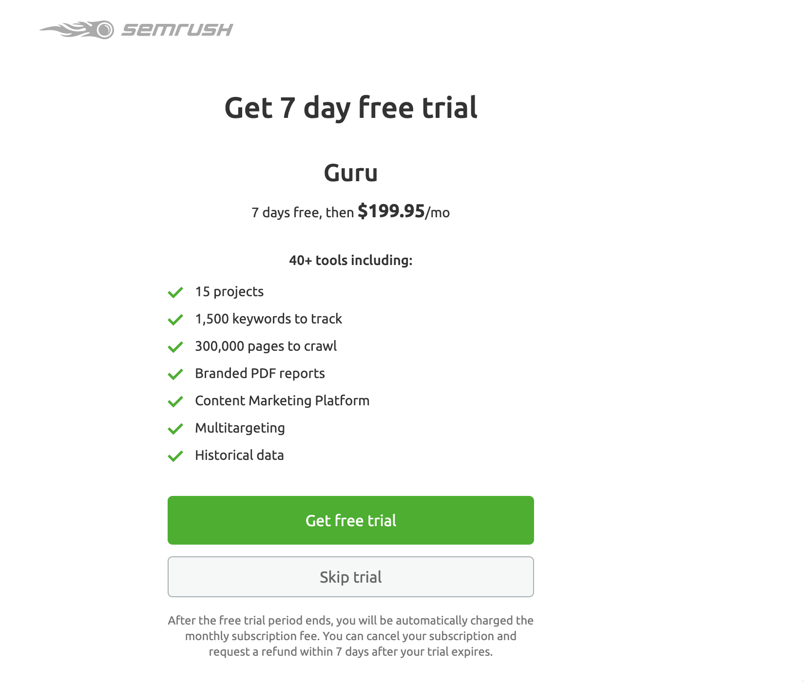 SEMrush Content Marketing Platform Get 7-Day Free Trial