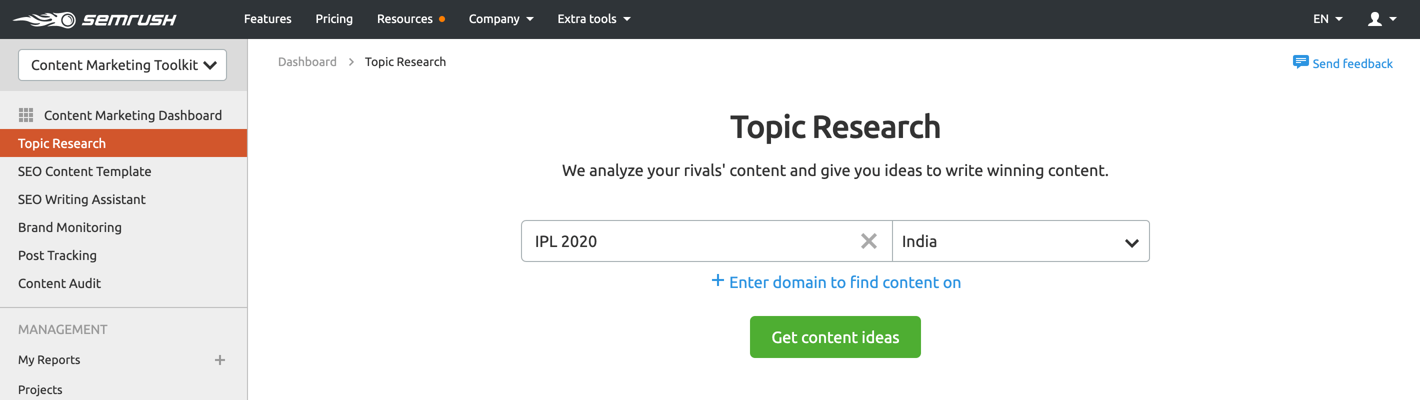 SEMrush Topic Research Get Content Ideas