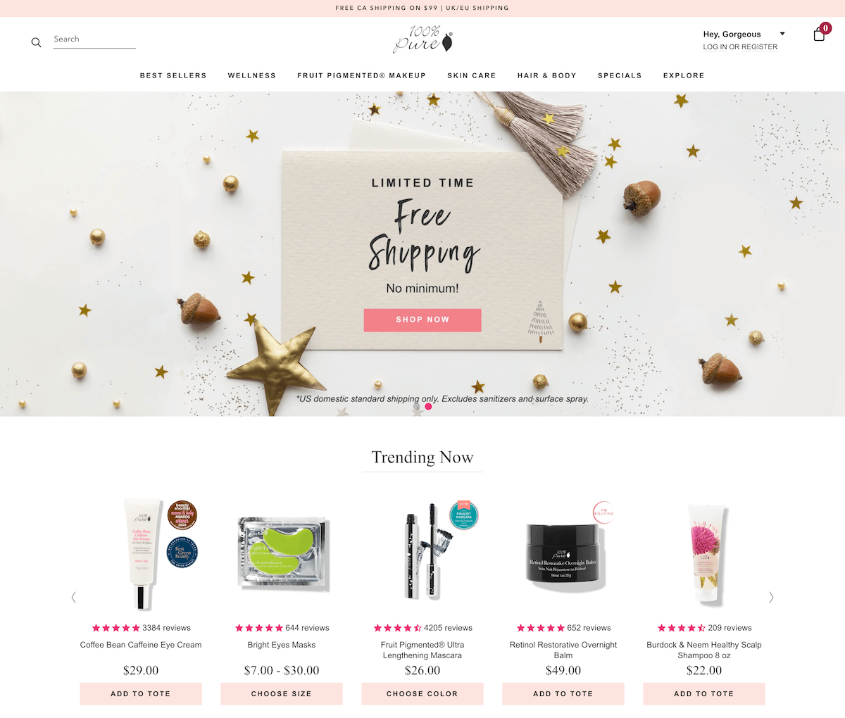 E-commerce Website Homepage Example-Click Here to Enlarge