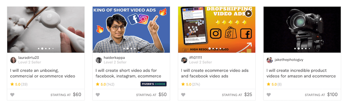 Fiverr Ecommerce Video Gigs