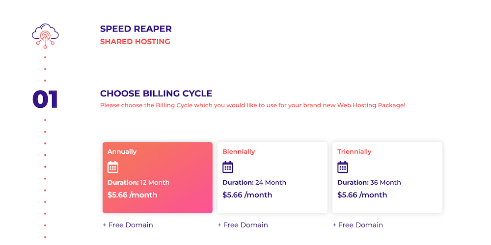 HostArmada Web Hosting Purchase Choose Billing Cycle