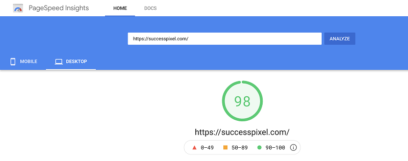 Google PageSpeed Desktop Score After Moving to WPX Hosting