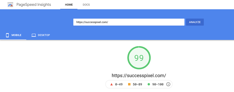 Google PageSpeed Mobile Score After Moving to WPX Hosting