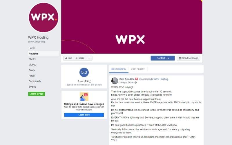 WPX Hosting Reviews Facebook