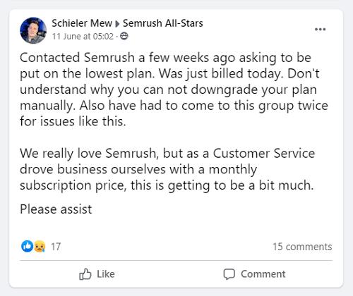 Semrush Customer Support Via Facebook Community 1
