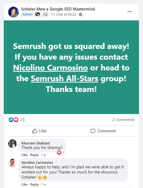 Semrush Customer Support Via Facebook Community 3