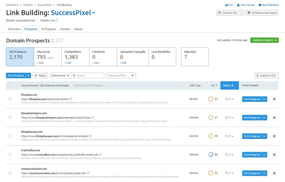 Semrush Link Building - Prospects: SuccessPixel