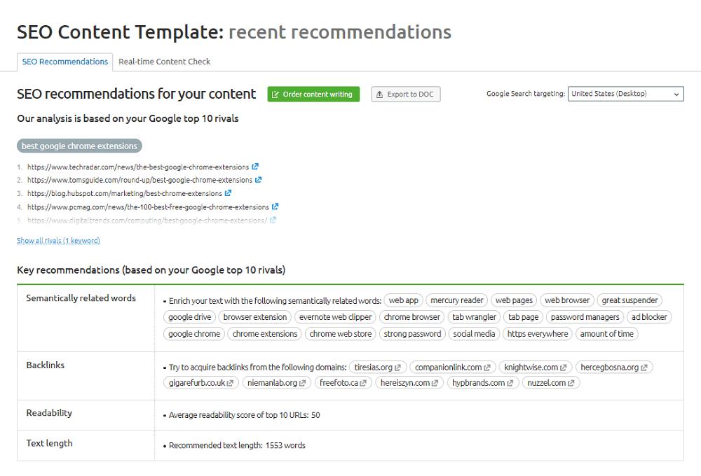 Semrush SEO Content Template SEO Recommendations