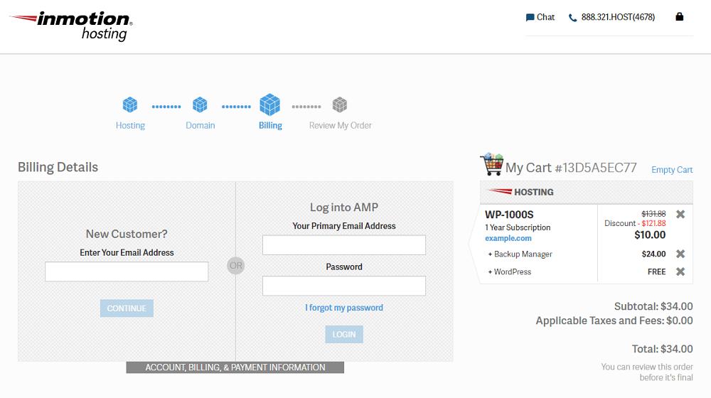 Activate InMotion Hosting Coupon Billing Details
