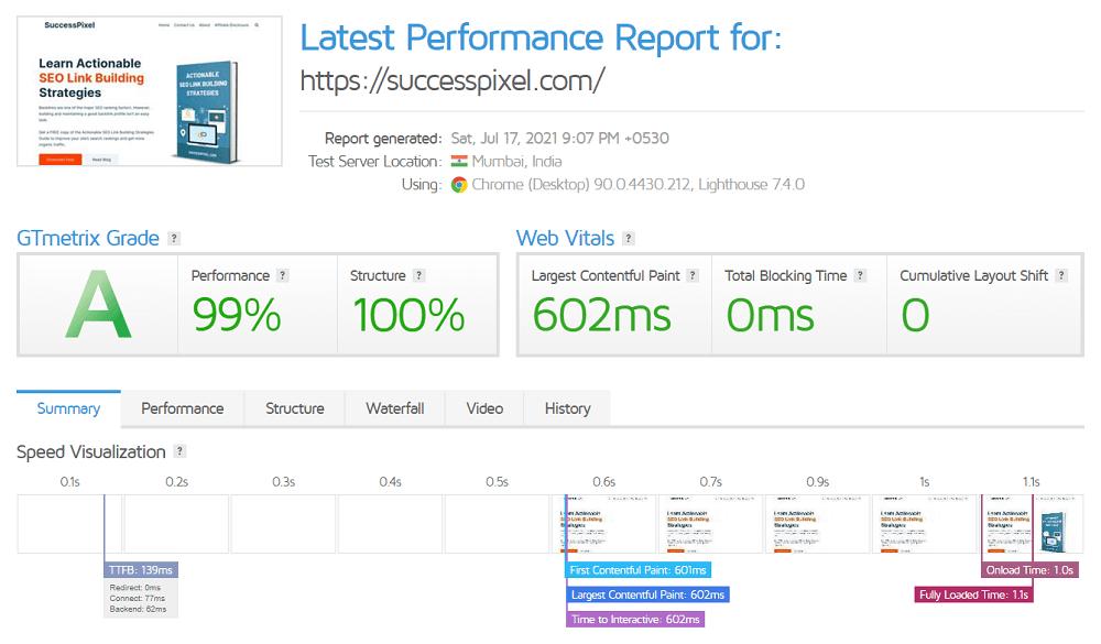 GTmetrix Web Page Speed Performance Test SuccessPixel.com 17 July 2021