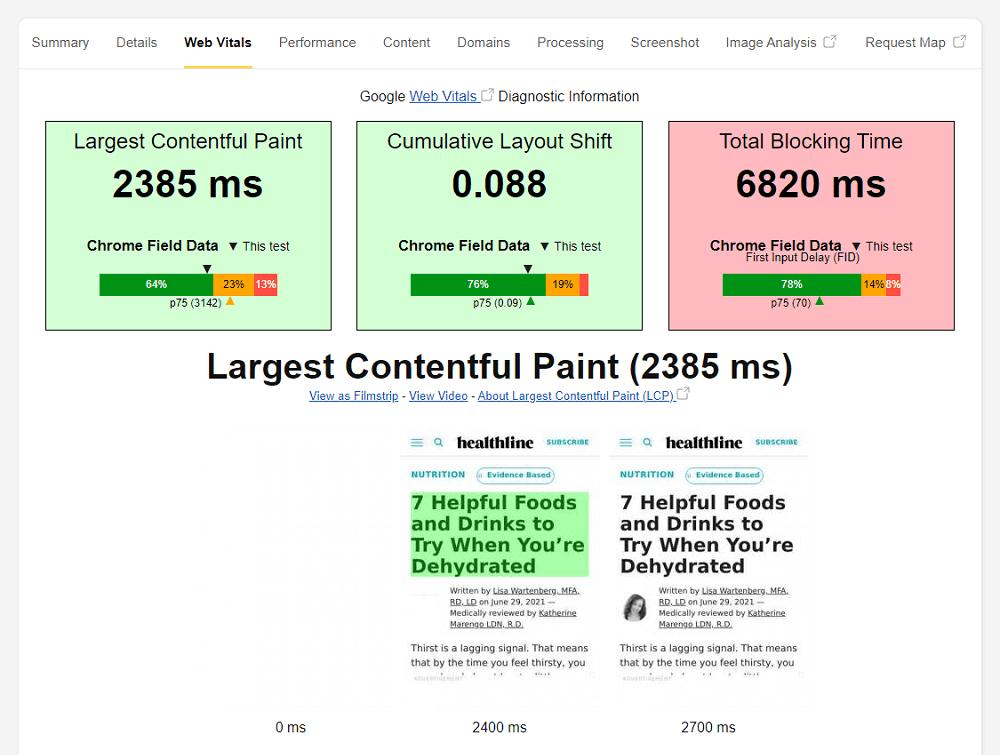 WebPageTest.org Core Web Vitals Report