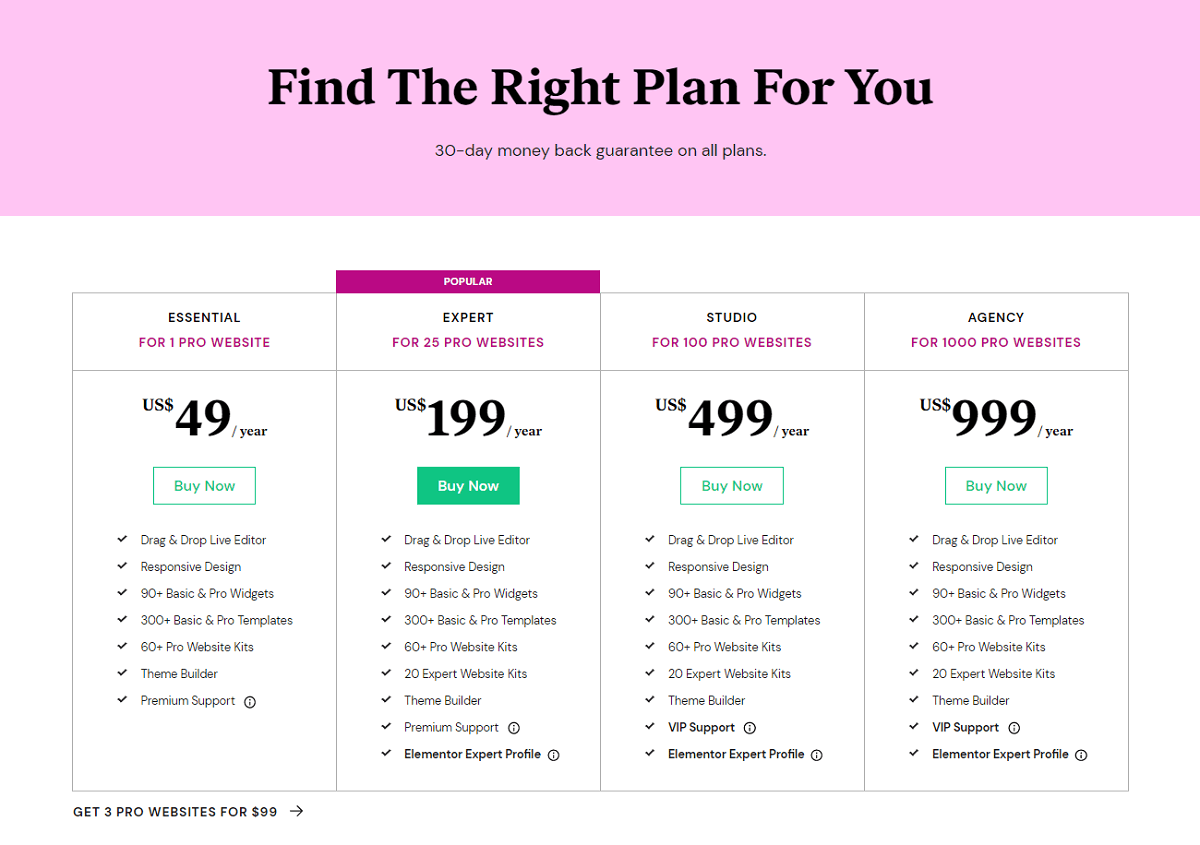 Elementor Pro Pricing with Elementor Kits Included