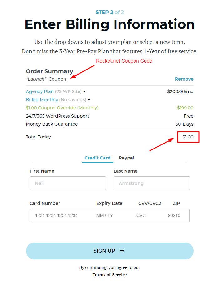 Rocket.net Hosting Checkout Page